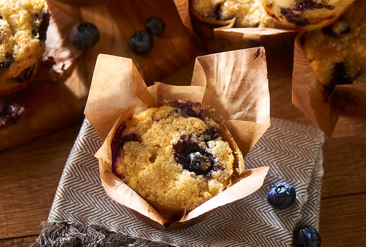 BLUEBERRY SOUR CREAM MUFFINS WITH QUESO FRESCO