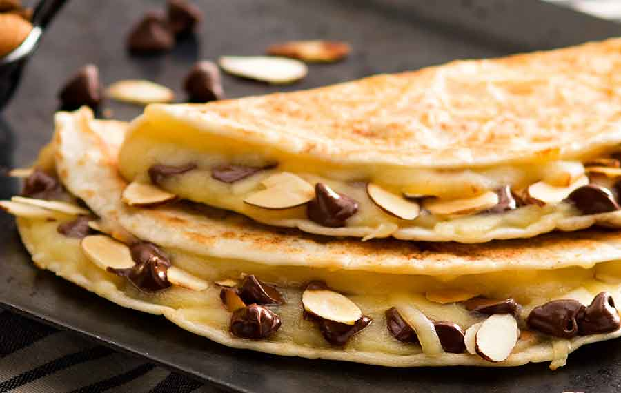 Chocolate Chip & Almond Quesadillas