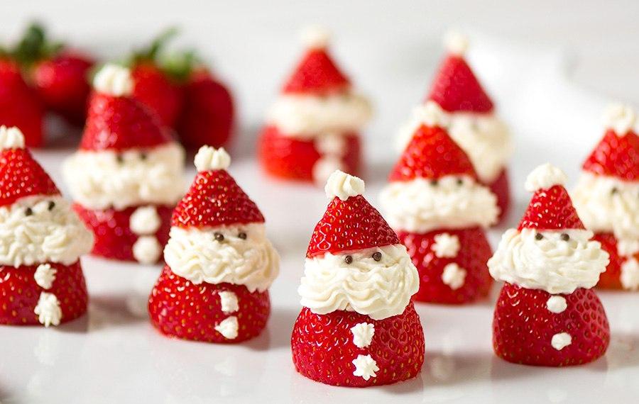 Fresas Rellenas en Forma de Santa
