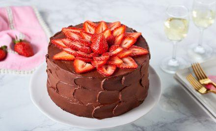 Homemade Chocolate Strawberry Cake With Fresh Sour Cream Recipe