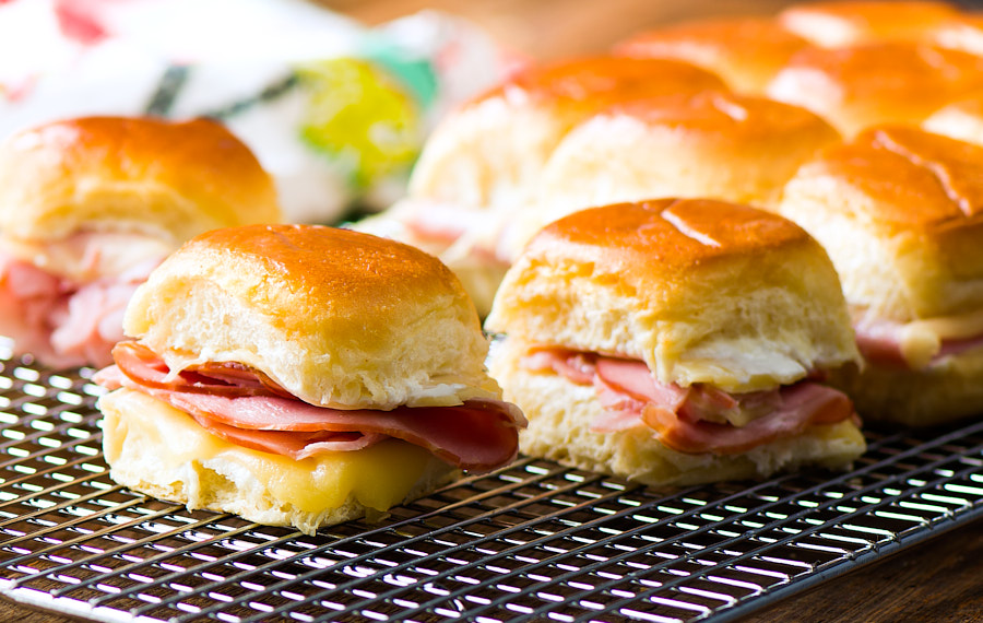 Mini Hot Ham Sandwiches with Cheese