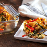 ThisSpinach and Cheese Stratais a great option for a vegetarian breakfast casserole, made with eggs, bread, shredded Chihuahua® cheese, and fresh spinach.
