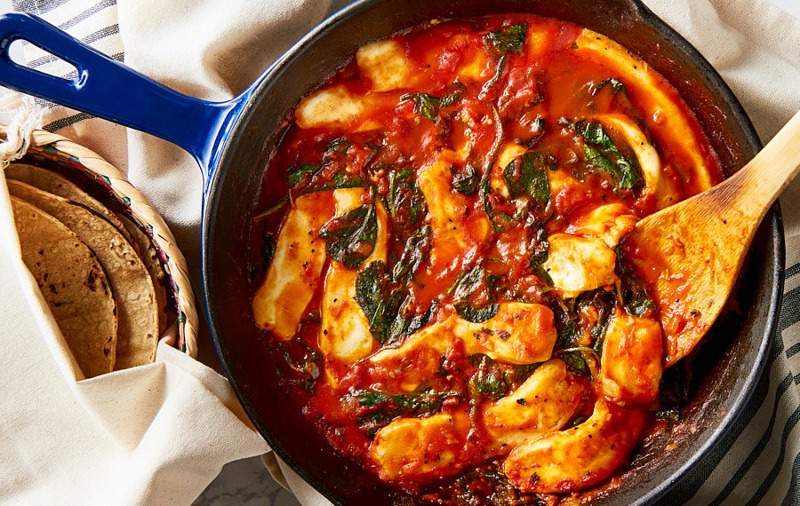 Spinach with Tomato Sauce and Cheese