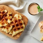 A waffle maker is a lot more versatile than you think. Impress your guests with this savory appetizer! Two Cheese Waffle with Chipotle Dipping Sauce. It only takes minutes to make.