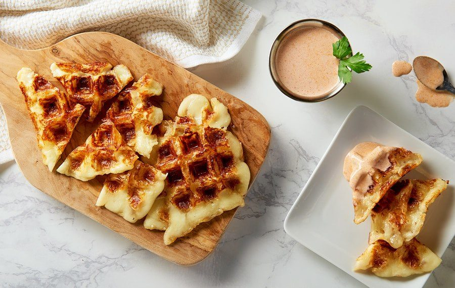 Two Cheese Waffles with Chipotle Dipping Sauce
