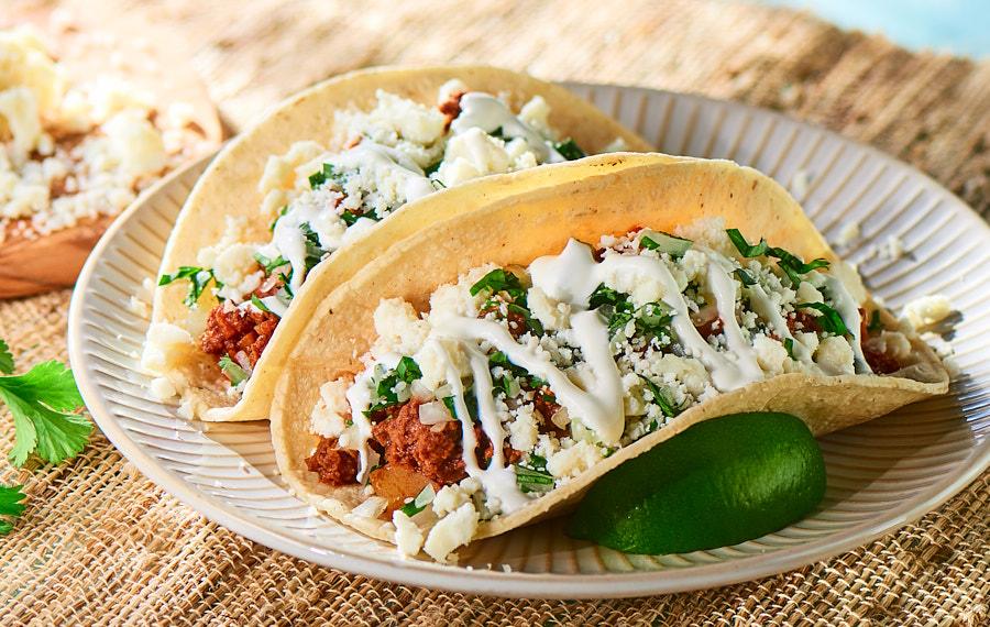 Chorizo and Ground Beef Tacos