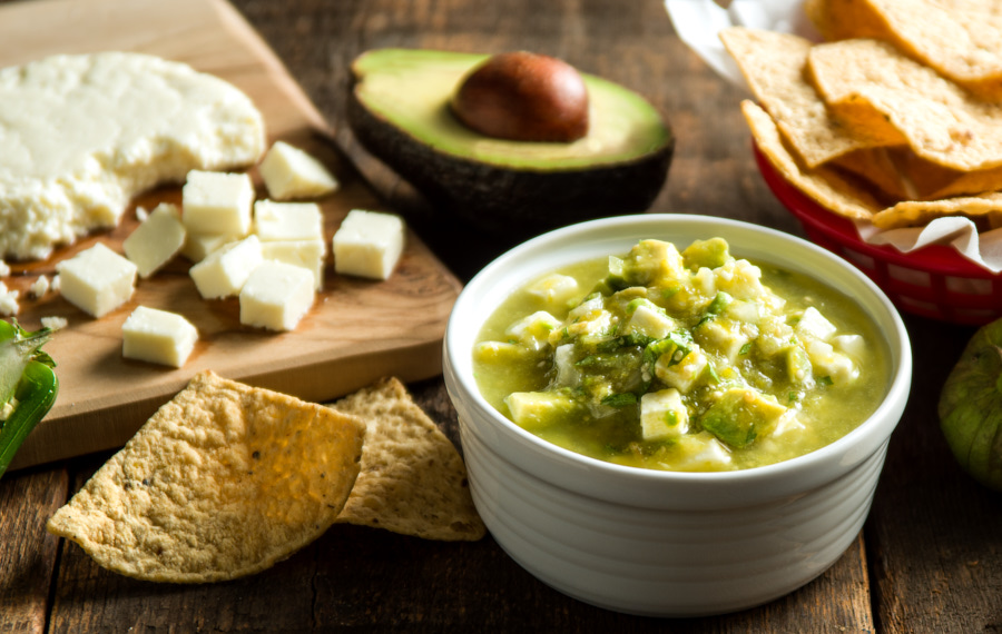 Tomatillo Salsa with Queso Fresco