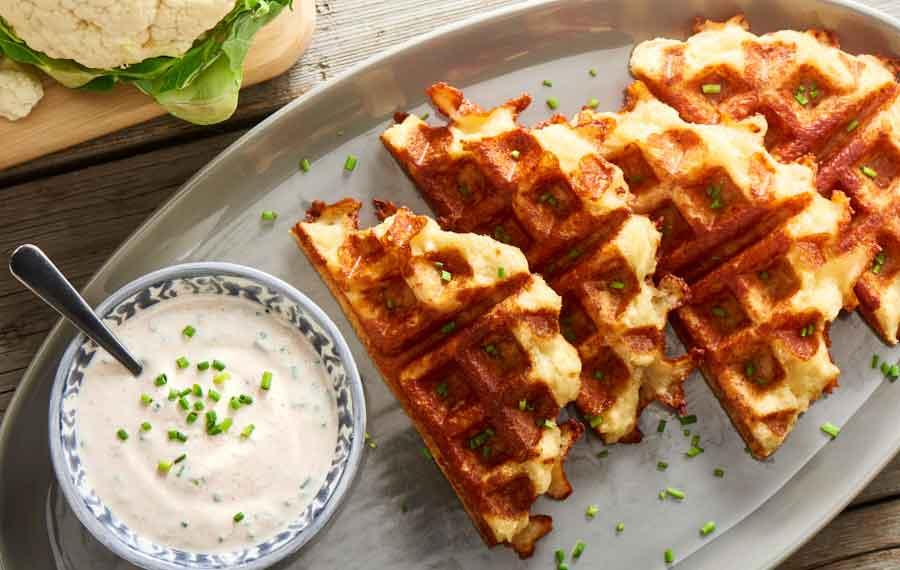 Waffles de Coliflor y 2 Quesos