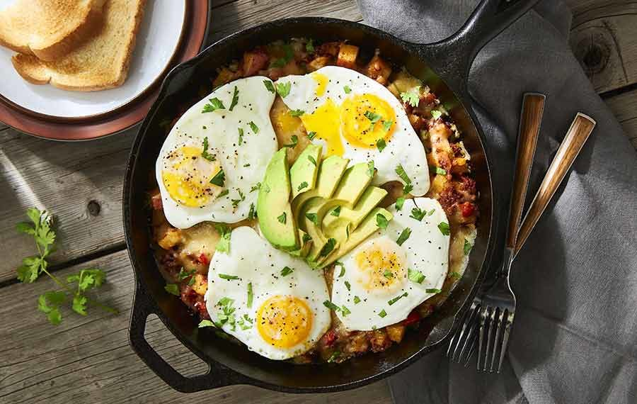 Hash with Chorizo and Eggs